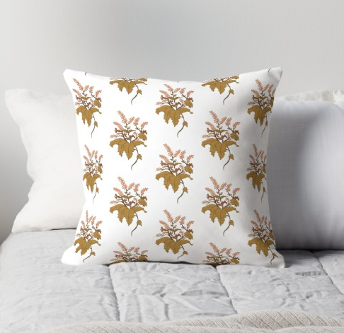 JV Floral Branch Pillow White
