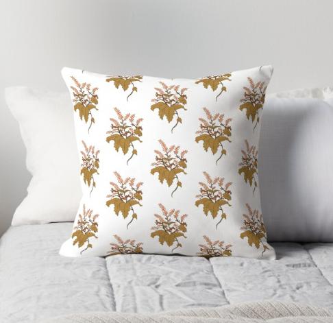 JV Floral Branch Pillow White