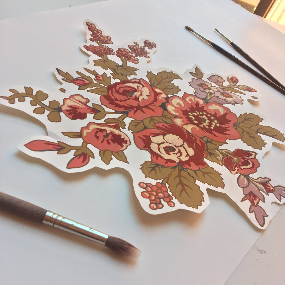 Jessica Violetta Ditsy Floral Process 1