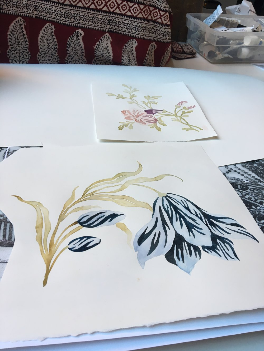 Watercolor Floral process 1