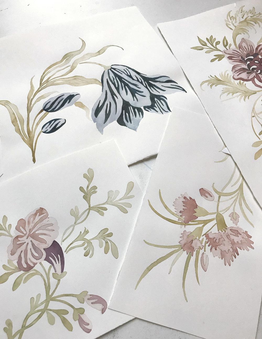 Watercolor Floral process 2