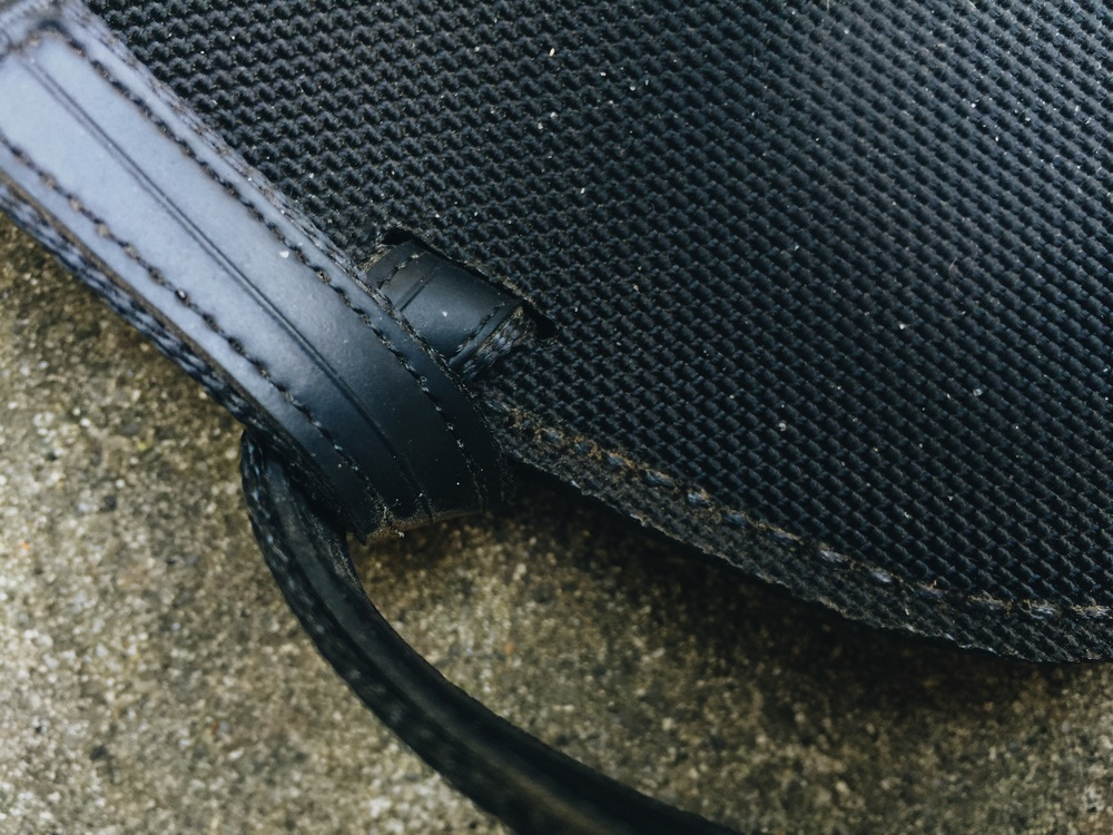 Detail of perimeter stitching and rubberized webbing