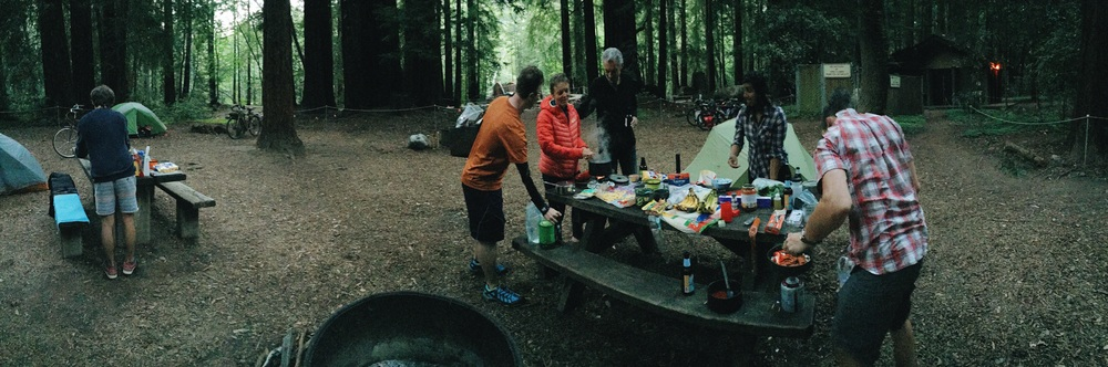 Camping in Peiffer Big Sur State Park, and having a communal dinner with new friends
