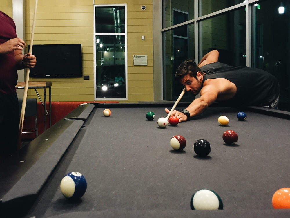 Nail biting games of pool with the local natives