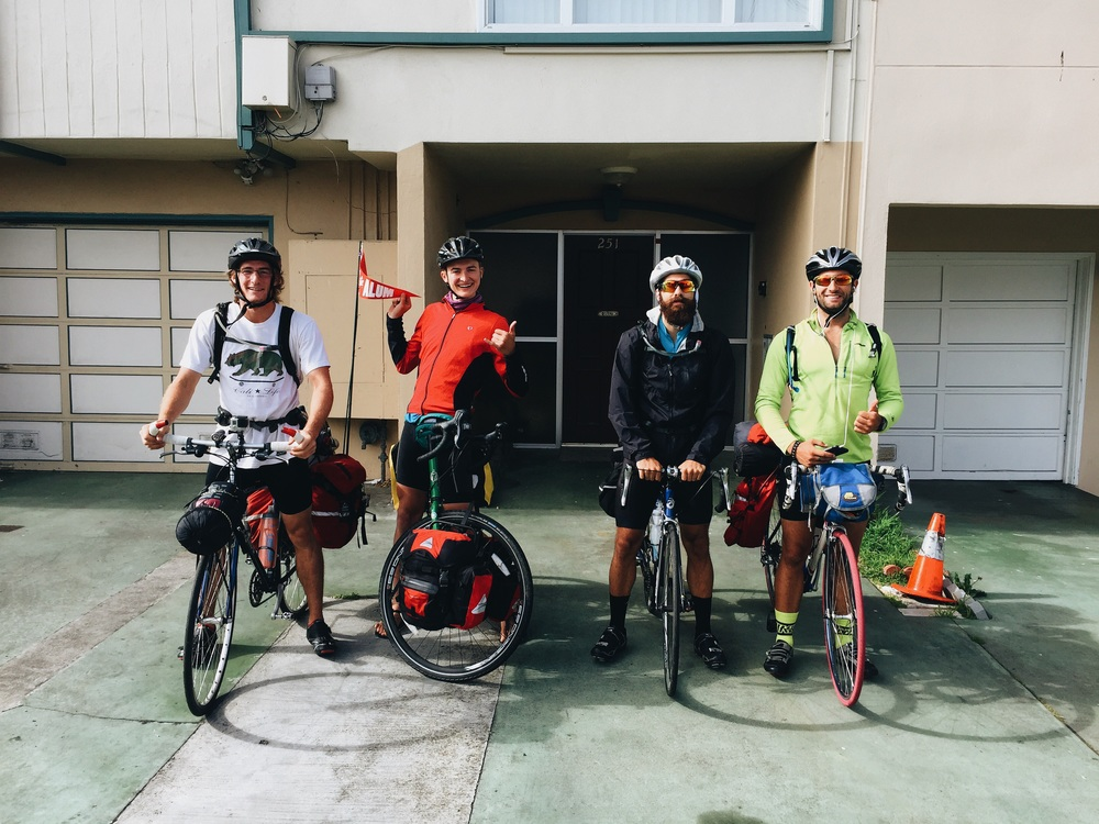 From left: Tristan, me, Geoff, and Ted.  Stoked for adventure! We're a literal bike gang!