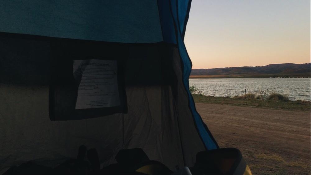 Waking up the next morning at the lake.