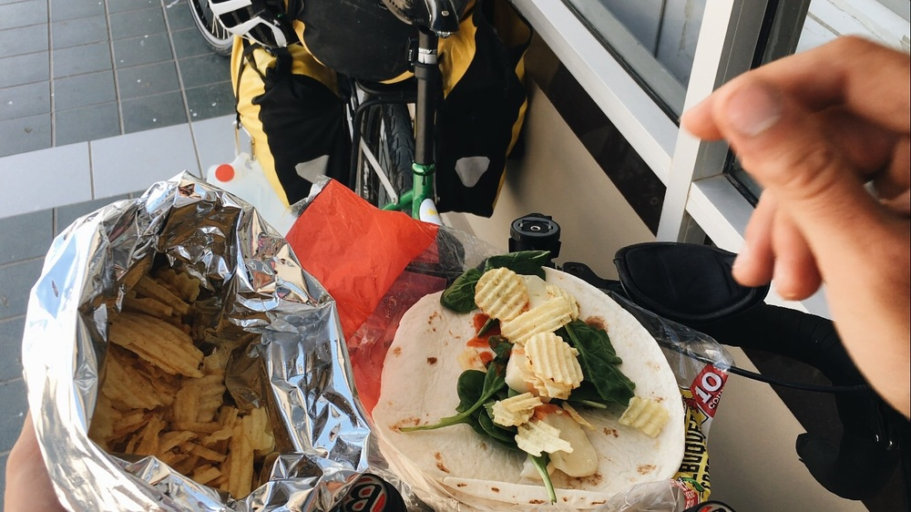 Lunch: cheese, spinach, tomatoes, chips, mayo and Louisiana Crystal.