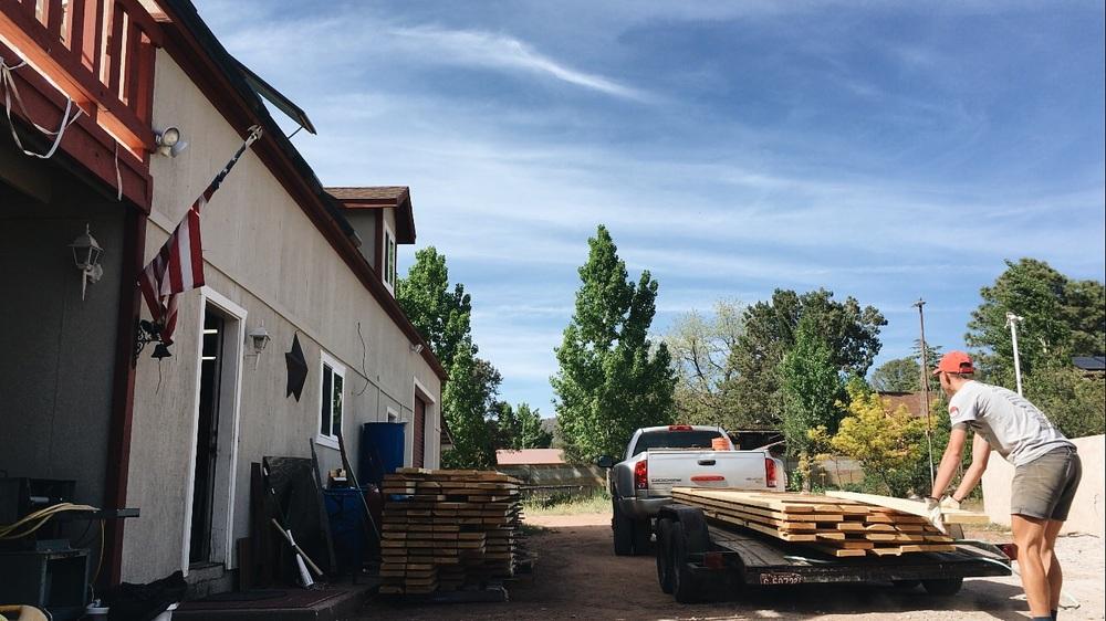 Unloading the wood