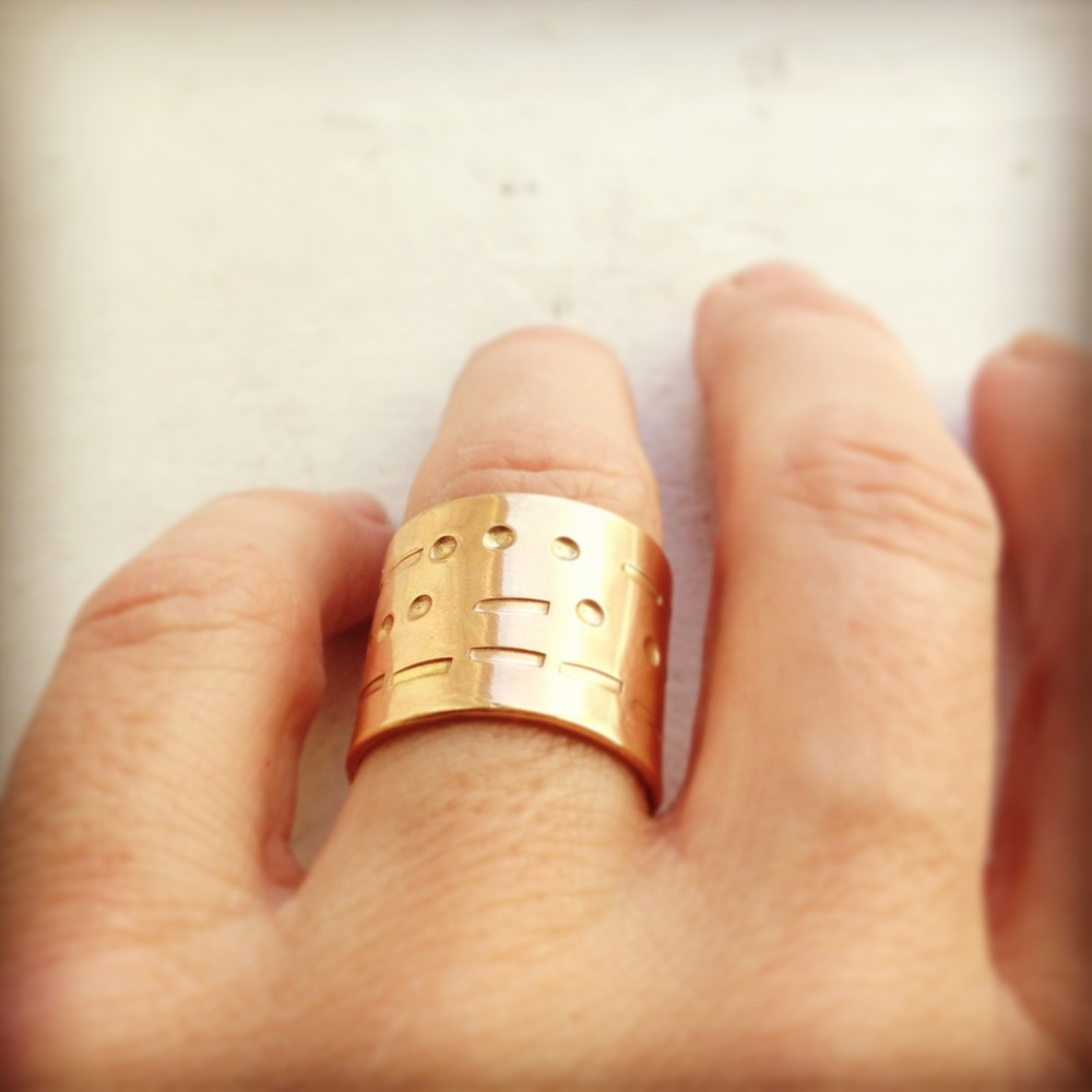 morse code band ring solid 14 karat gold
