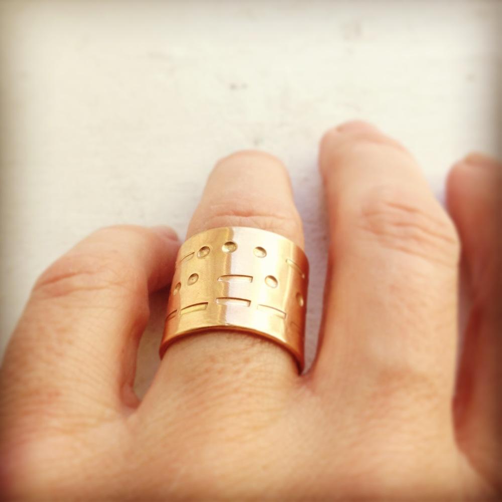morse code band ring solid 14 karat gold
