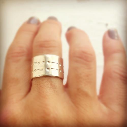 Morse Code Band Ring