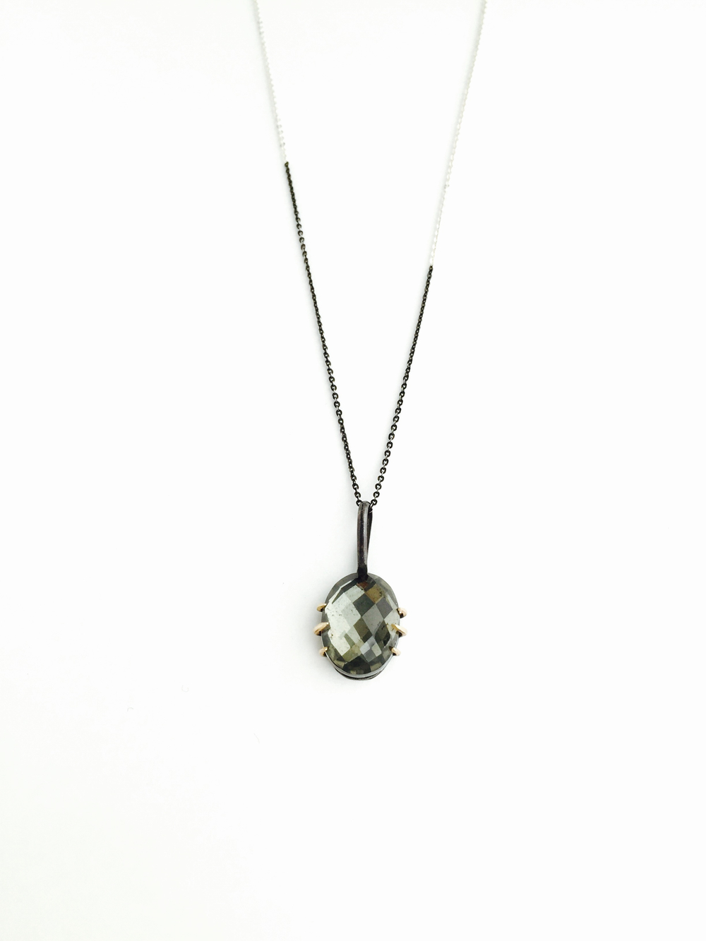 pyrite venus gemstone 14 karat yellow gold oxidized sterling silver necklace
