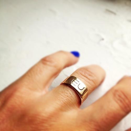 Initial Band Ring 14 Karat Gold Sterling Silver