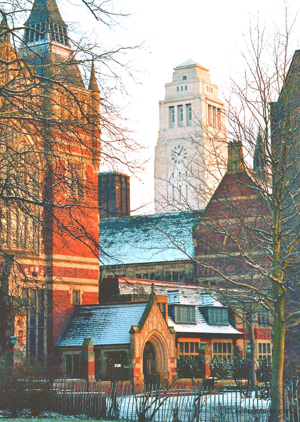 Leeds University:   The Great Hall and the Parkinson 2     View across the buildings after a light snow fall