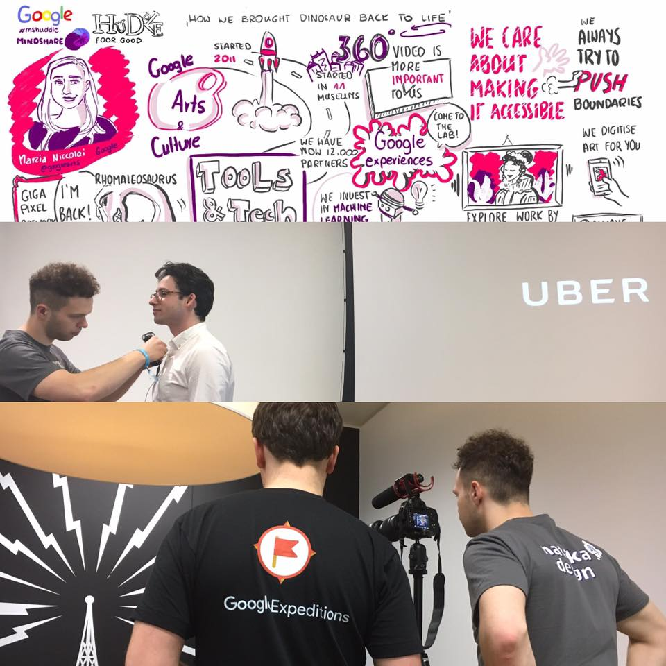 Graphically recording key messages from the talks and filming a highlight video at Huddle with Google and Mindshare, London 2016