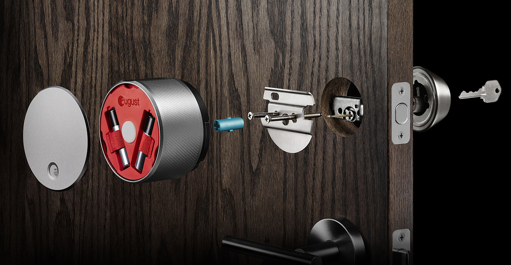 August | Smart Lock Your smartphone is now a smart key—and more. Lock and unlock your door, create virtual keys for guests, and keep track of who comes and goes.  August Website