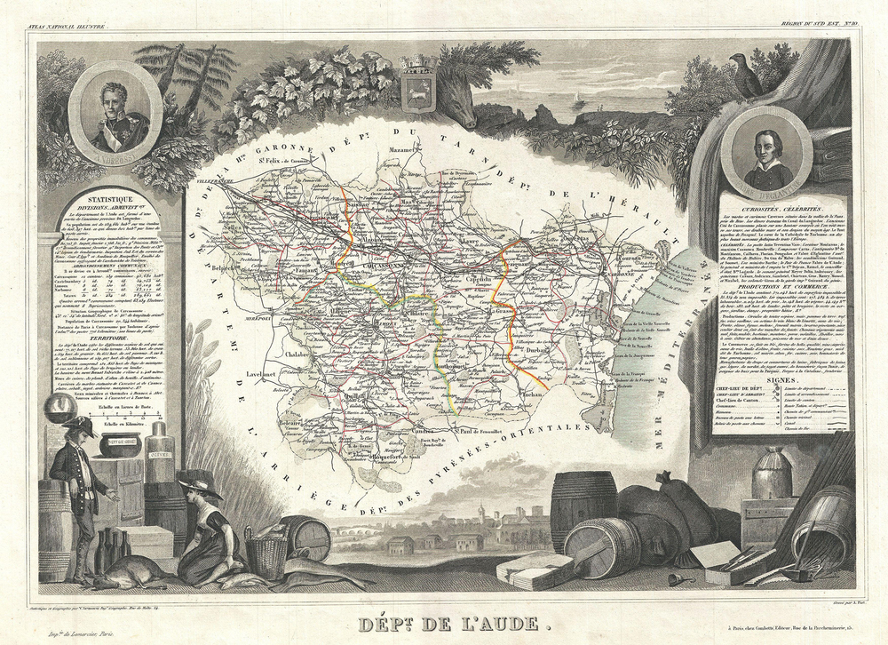 1857 map of the French department of Aude, France. This area of France is famous for its wide variety of vineyards and wine production. Limoux is directly in the center.