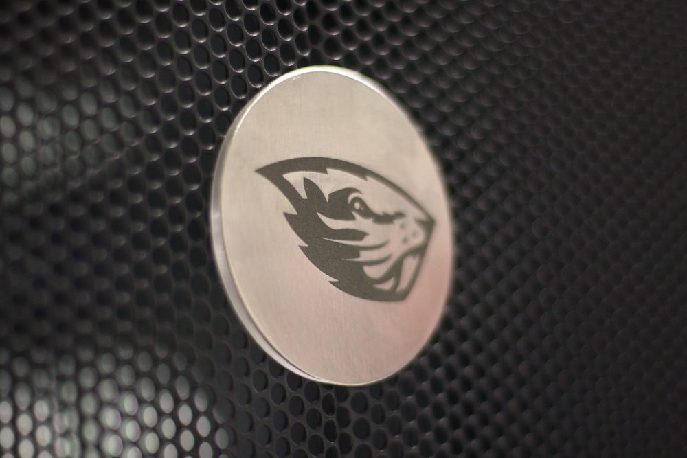 Laser etched stainless steel logos for Oregon State University