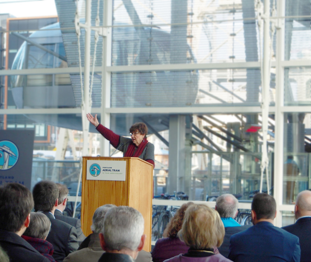Darlene Hooley, for whom the US Congresswoman Darlene Hooley Pedestrian Bridge at Gibbs Street is named.