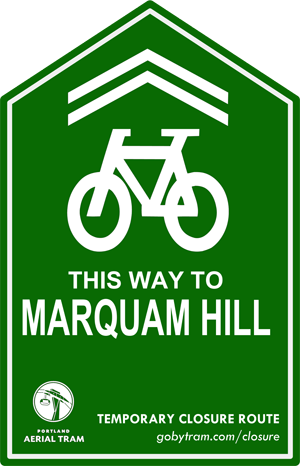 Look for this signage traveling from the waterfront to hill.