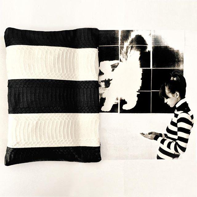 Deux Stripes: Anna Karina + our new B/W Stripe Snakeskin Springframe Clutch. Get yours for #preorder now! #annakarina #godard #vivresavie #womensaccessories #womensfashion #stripes #kittens