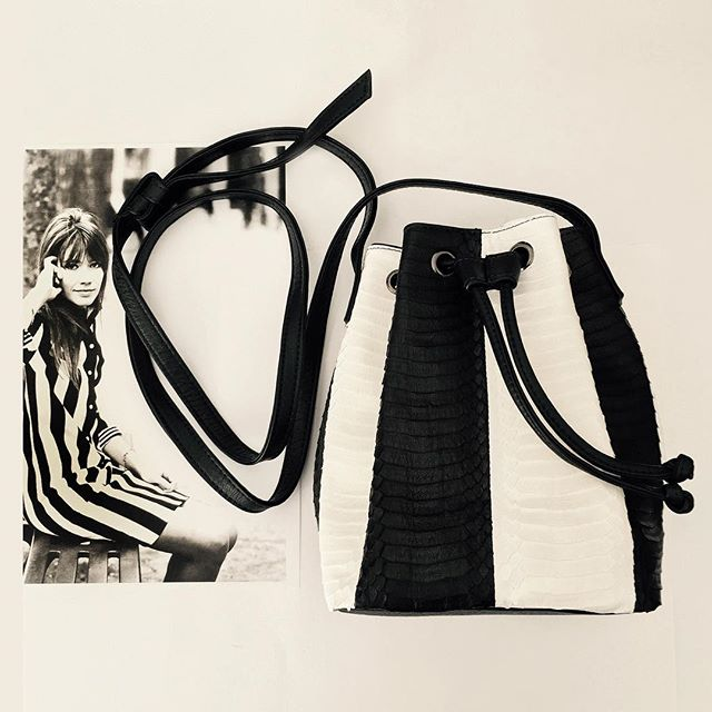 Deux Stripes: Francoise Hardy + our new B/W Stripe Snakeskin Mini Bucket Bag. Available for #preorder now! #bucketbag #francophile #womensaccessories #womensfashion #stripes #francoisehardy