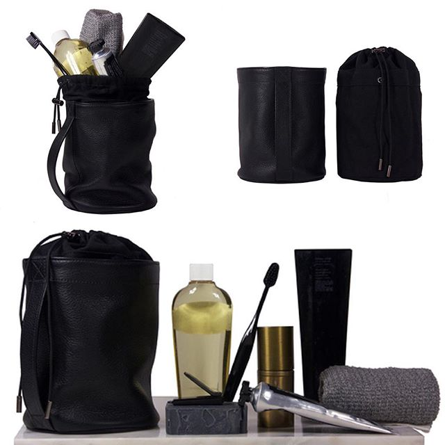 DEUX CUIRS Upright Doppler Kit. Our toiletry bag redux... Features a snap out washable canvas liner with drawstring opening. #mensaccessories #leathergoods