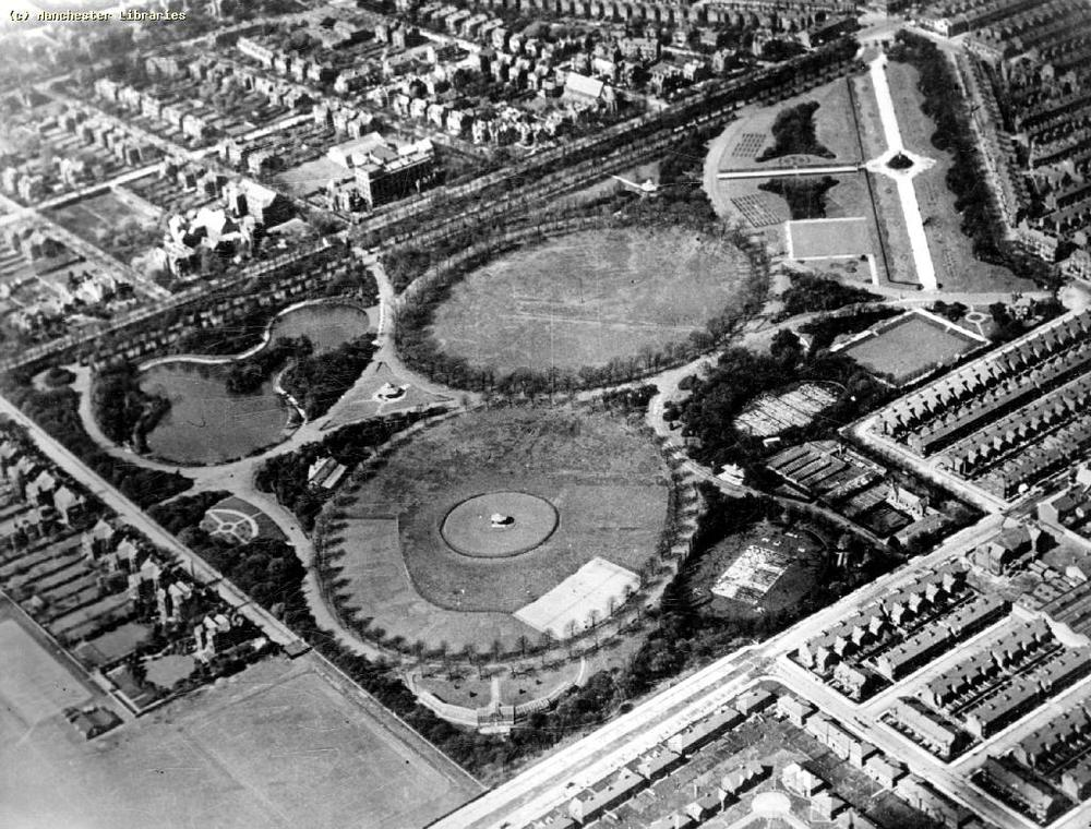 Aerial View Alexandra Park, Whalley Range/Moss Side, Manchester -1925.  Photo courtesy of Manchester Archive and Local Studies
