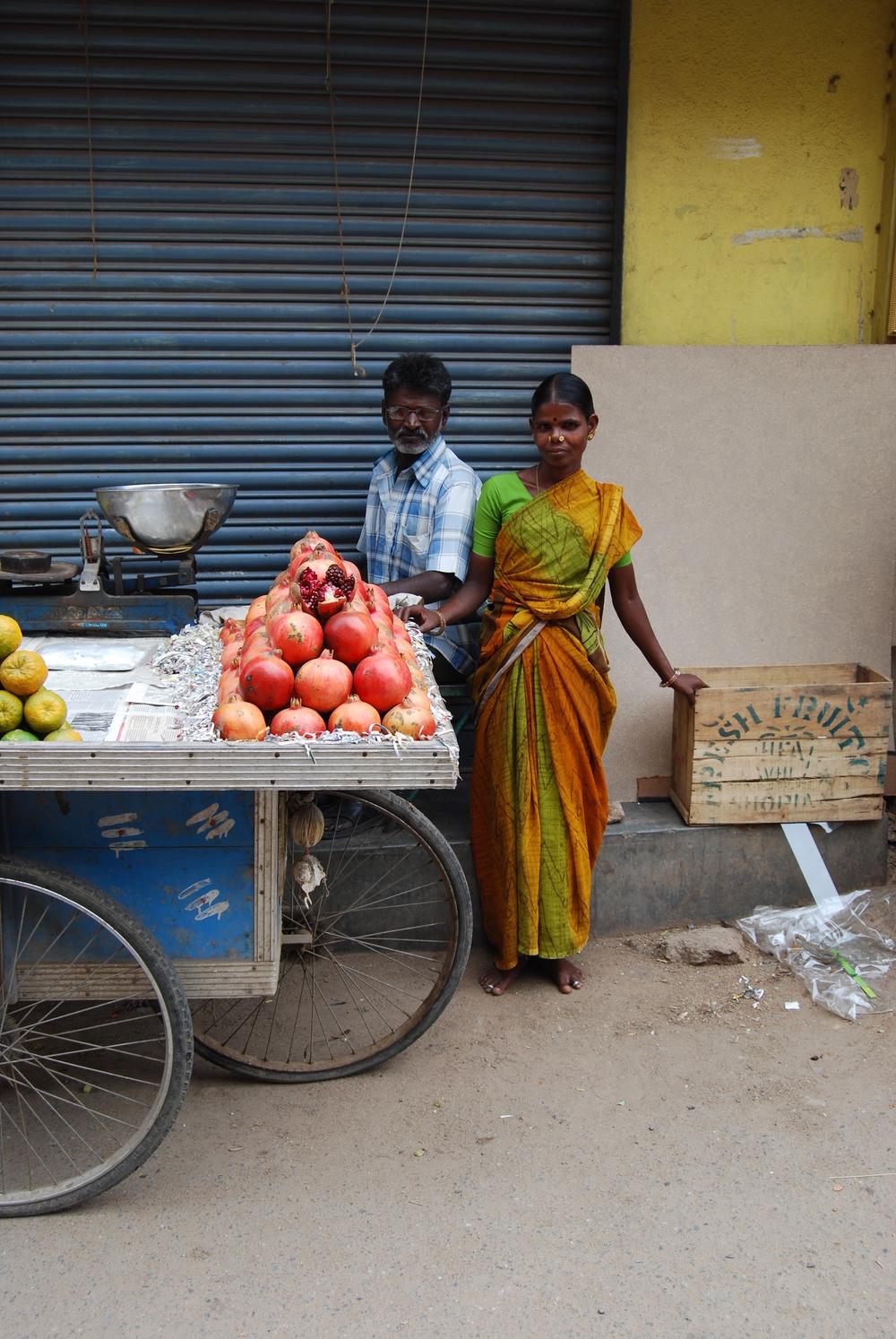Couple Selling Pomegranates