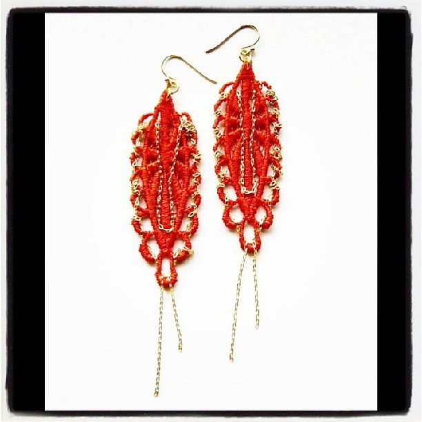 Hand-dyed Lace Earring & Interwined Gold Chains. Designed & Handcrafted by NyaMani Designs #fashion #styleaddicted #style #inspiration #orange #gold #colors #shop #etsy #nyamanidesigns #rawartists #earrings #jewellery #jewelry #accessories #igdaily #igers #bestoftheday #picoftheday #life #love #instamessage #instafashion #instagood #instagreat #instabeauty #instastyle #beauty #woman (at  www.nyamanid.etsy.com )