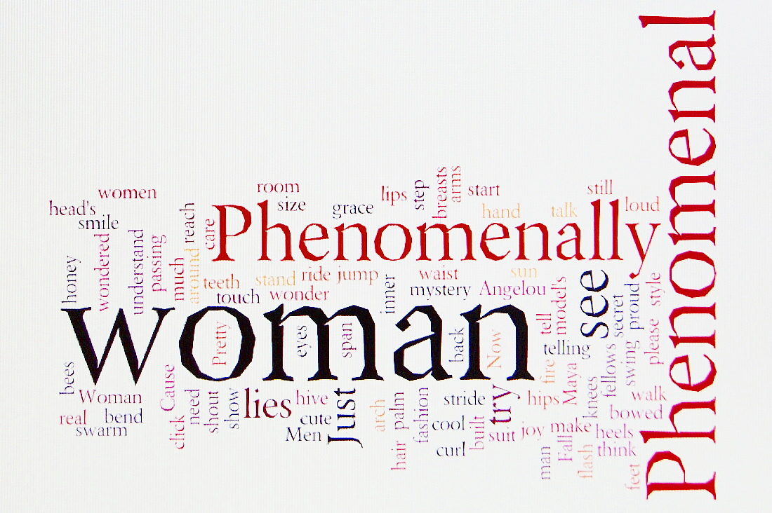 Because I have loved poetry since I was 7, Maya Angelou since I was 12, and words since I could speak them, my Wordle of Dr. Angelou's Phenomenal Woman.