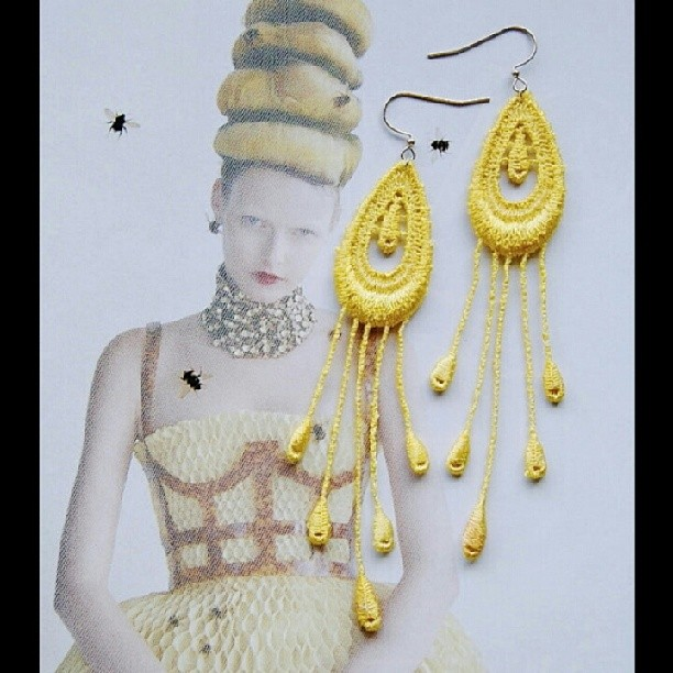 Hand-dyed Lace Earrings, Handcrafted by NyaMani Designs #fashion #jewellery #yellow #rawartists #vogue #lace #beauty #earrings #accessories #picoftheday  (at  www.nyamanid.etsy.com )