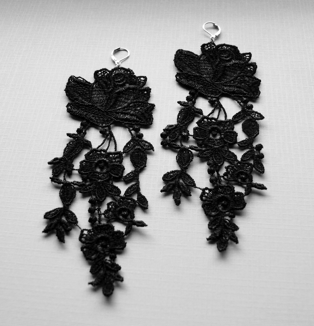 A rose is still a rose even if it's Black………..Black Rose Lace Earrings. Available at NyaMani Designs on Etsy. www.nyamanid.etsy.com