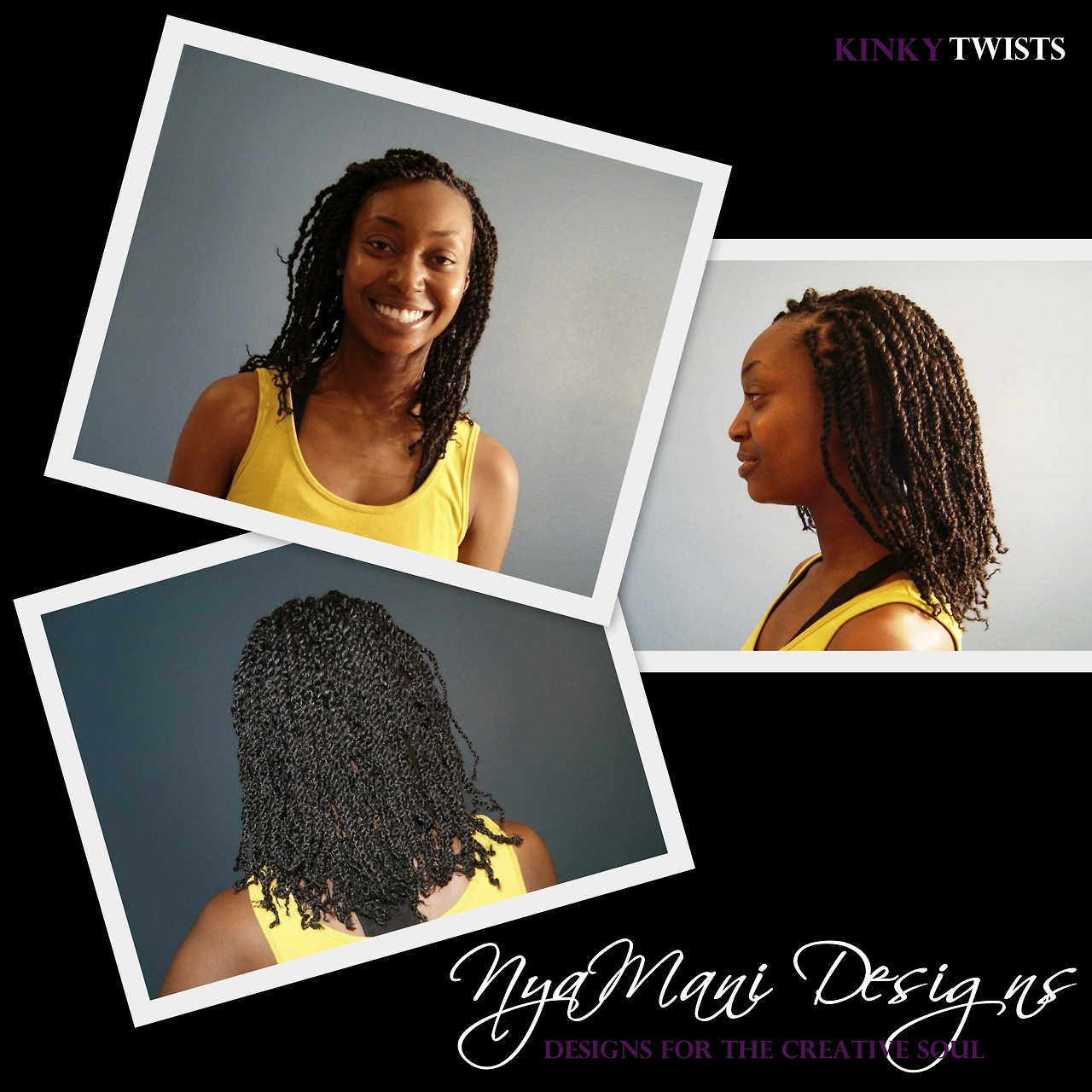 NyaMani Designs: Natural Hair Care by Natisha Palmer. Kinky Twists are my most popular service for protecting your natural hair. Visit me at Style Seat (link below) for pricing and to learn more about this and other braids / extension styles or to book your appointment online   https://www.styleseat.com/natishapalmer