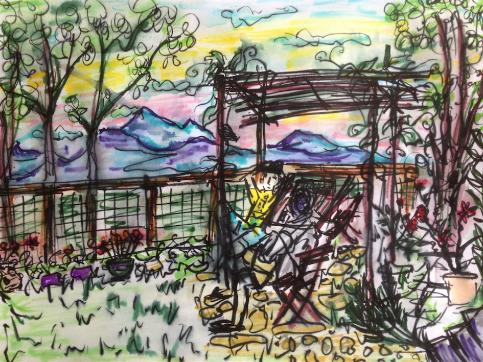 06/10/15. Tuscany, Italy. Chilling for an afternoon snack, overlooking the amazing view of mountains around us. Japanese watercolor pens.
