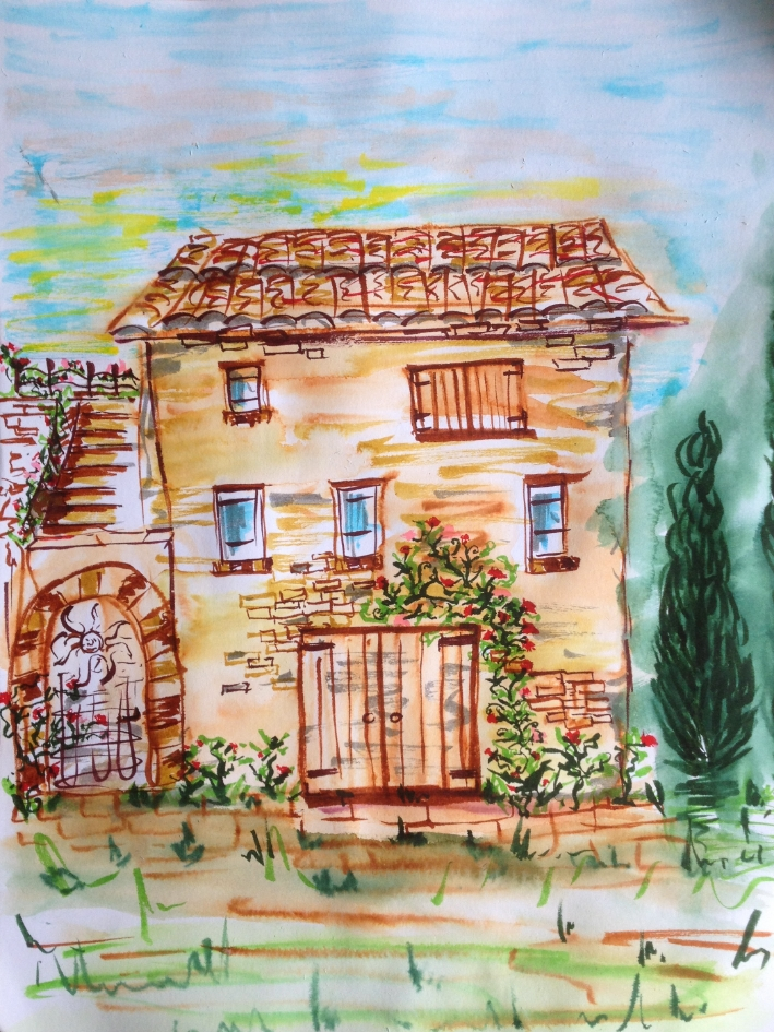 06/11/15. Tuscany, Italy. Inspired by the beautiful charming houses in the town: brick, shutter windows, vines of roses and jasmine, earth tones. Japanese watercolor pens.