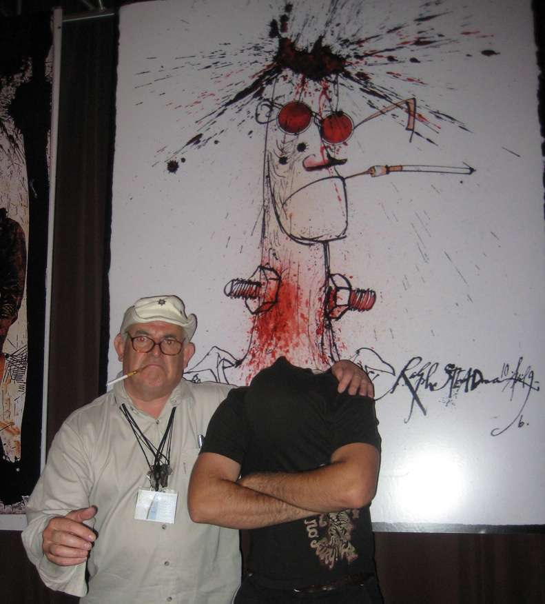 Ralph Steadman with a portrait of his late friend, Hunter S. Thompson. The two men met in 1970 in Louisville to cover the Kentucky Derby..