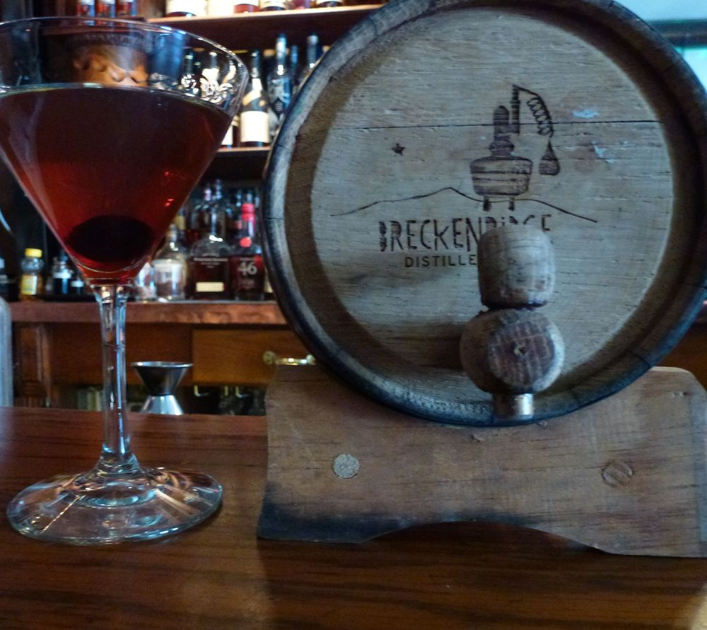 Colorado's take on a classic, The Mountain Manhattan made with Breckenridge Bourbon, distilled over a mile and half high at what's billed as the highest distillery in the world. (Photo by Hudson Lindenberger.)
