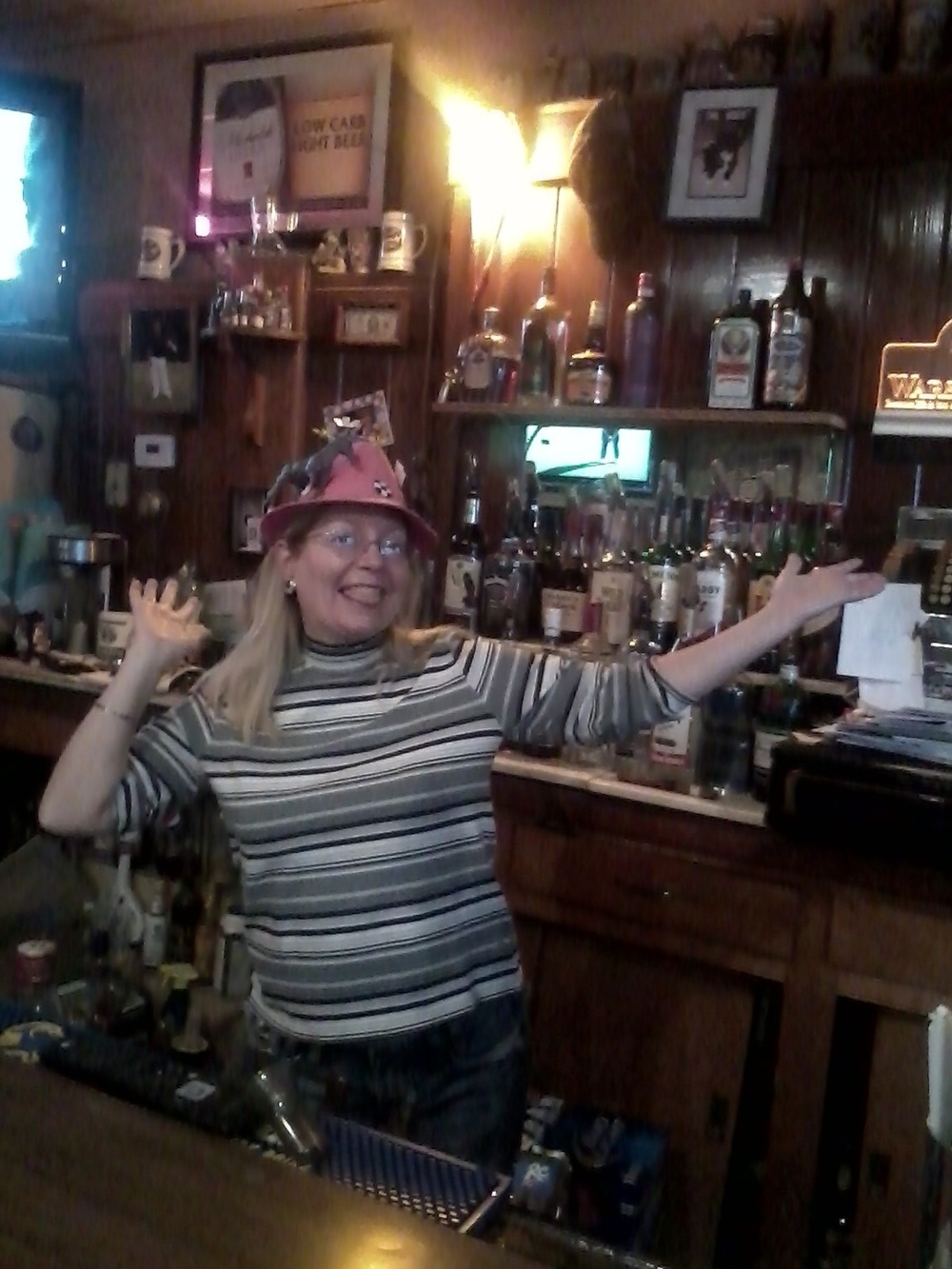 Laura Opheim, Mike's relief bartender with her homemade Derby hat