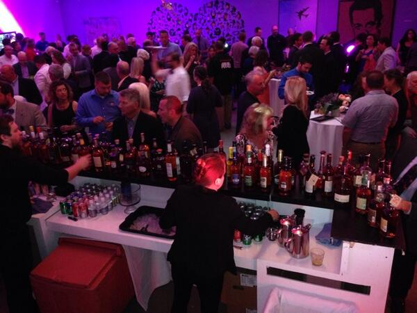 A view from behind the tasting bar at opening, Kentucky Bourbon Affair. Photo courtesy of The Bourbon Mafia, @dukebru.