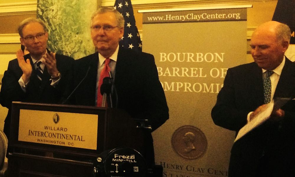 "Senate Majority Leader Mitch McConnell, a life-long student and admirer of Henry Clay, spoke about The Great Compromiser and Kentucky bourbon Tuesday night at the Willard Hotel. Legend has it that Clay brought a barrel of bourbon with him to Washington to ""lubricate the process of legislation."" At right, is Clay's distant relative Robert Clay, co-chairman of the Henry Clay Center for Statesmanship in Lexington, Ky. Photo: Michael A. Lindenberger / Bourbon Story Magazine."