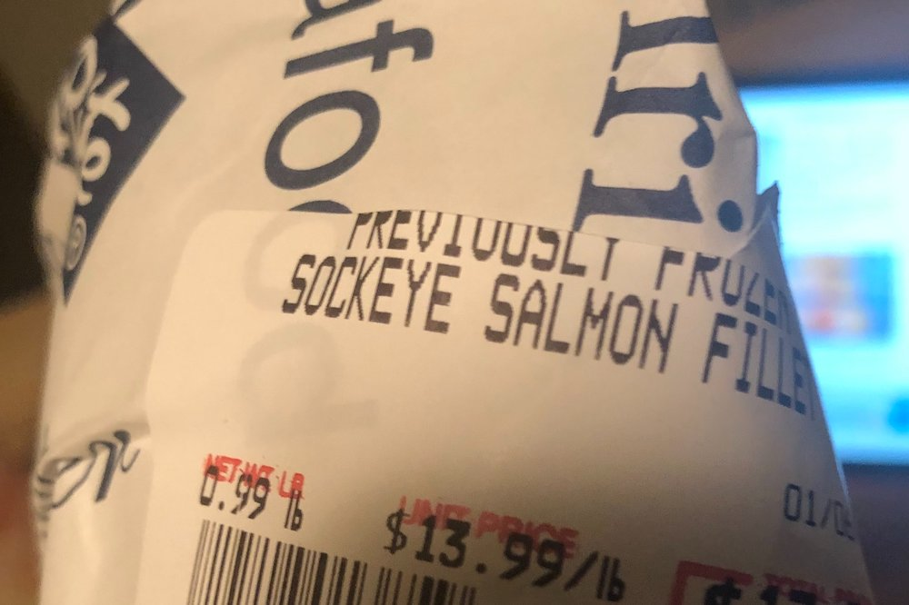 The salmon. While it somehow printed out as 0.99 I swear it registered in at even pound.