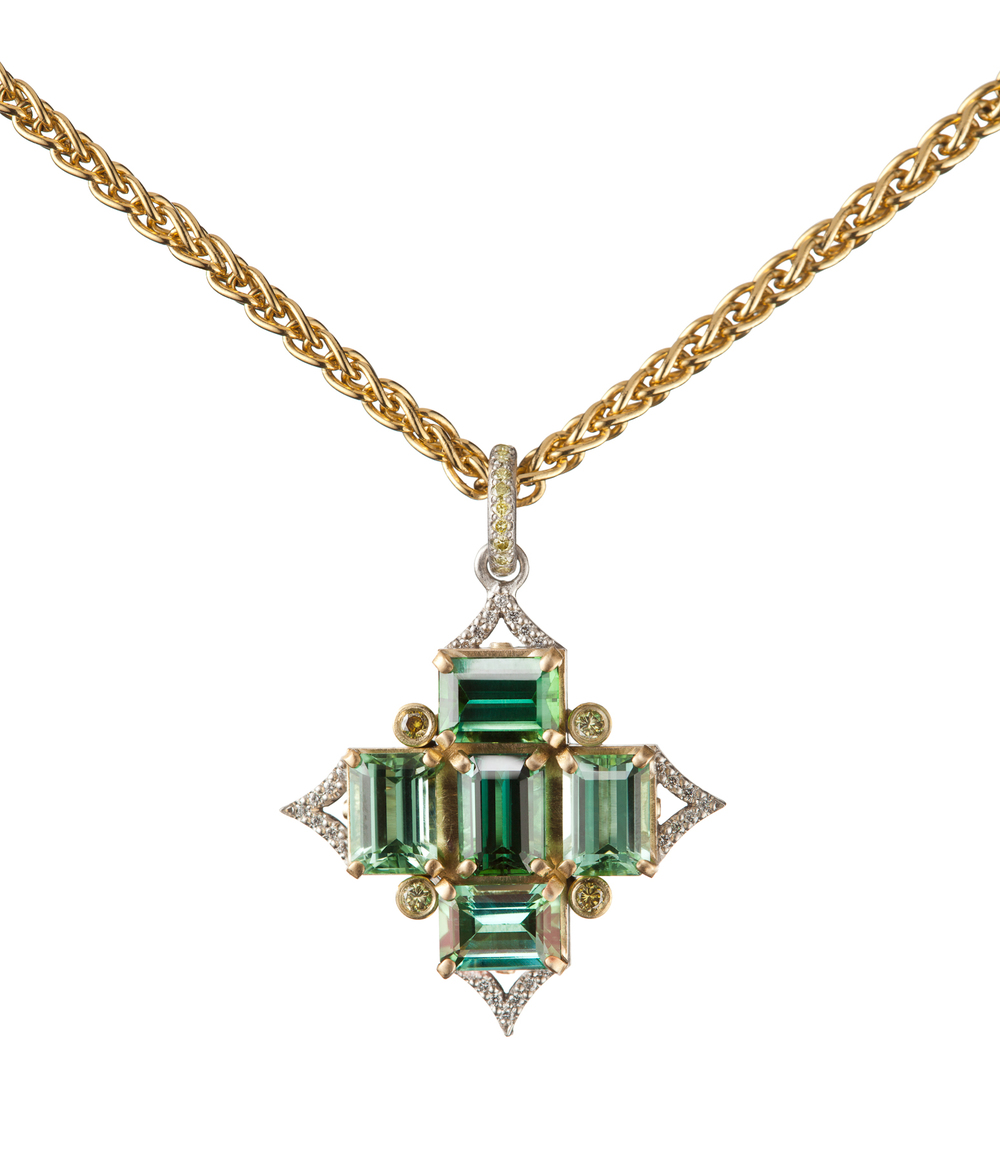 Green Tourmaline Pendant in Platinum & 18K Gold with Yellow-Green Diamonds