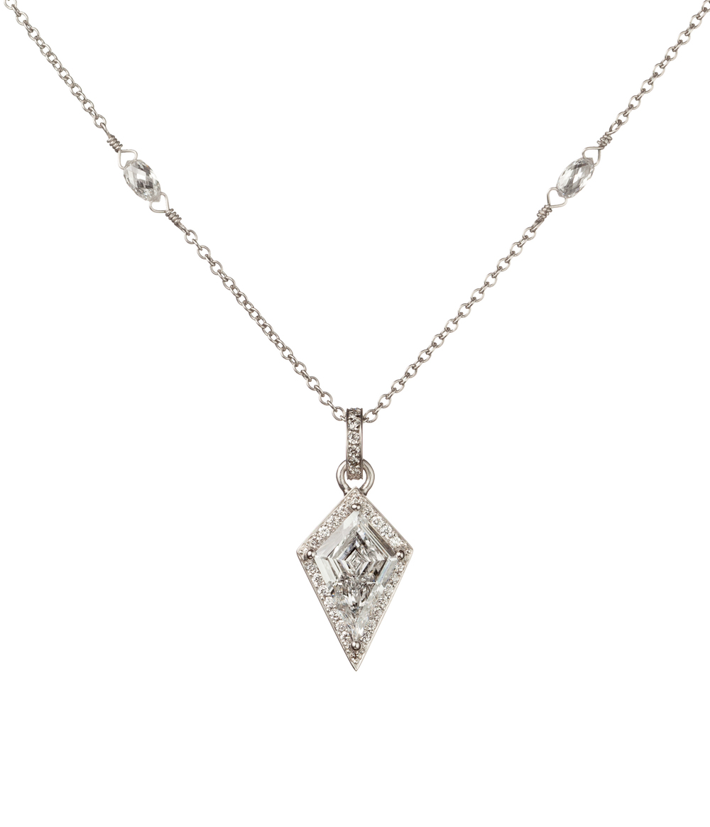 Kite Diamond Pendant with Diamond Halo, in Platinum with Diamond Bezels.