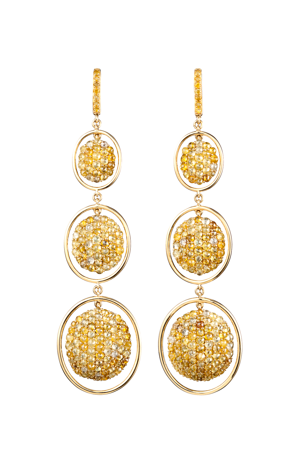 Three drop Fancy Cut Yellow Diamond Earrings in 18kt Yellow Gold.