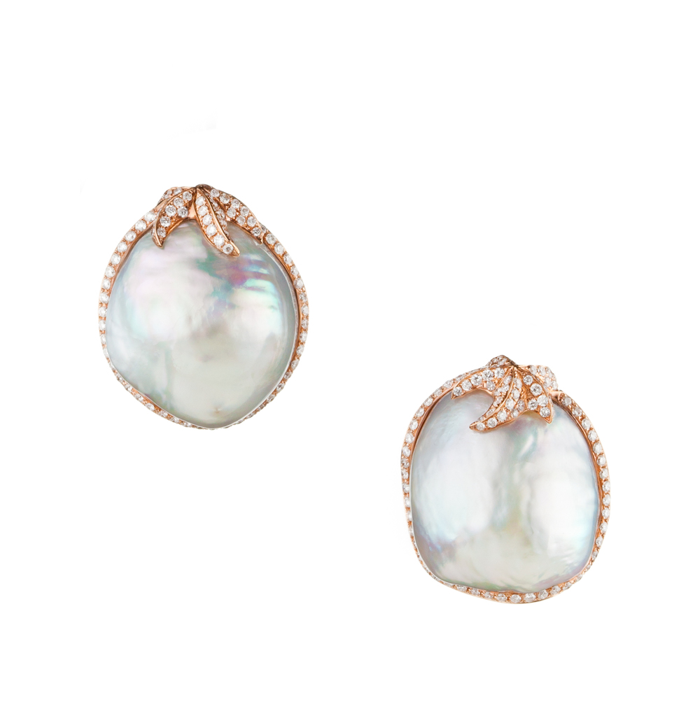 19mm Baroque Pearl Earrings with Diamond Halo, in 18kt Rose Gold.