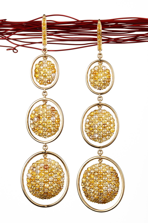 Three drop Fancy Cut Yellow Diamond Earrings in 18kt Yellow Gold.