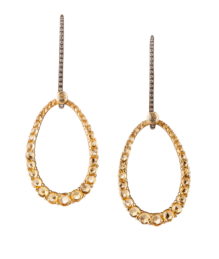 Rose Cut Yellow Sapphire Earrings in 18kt Yellow Gold with Diamonds by Kathleen Dughi
