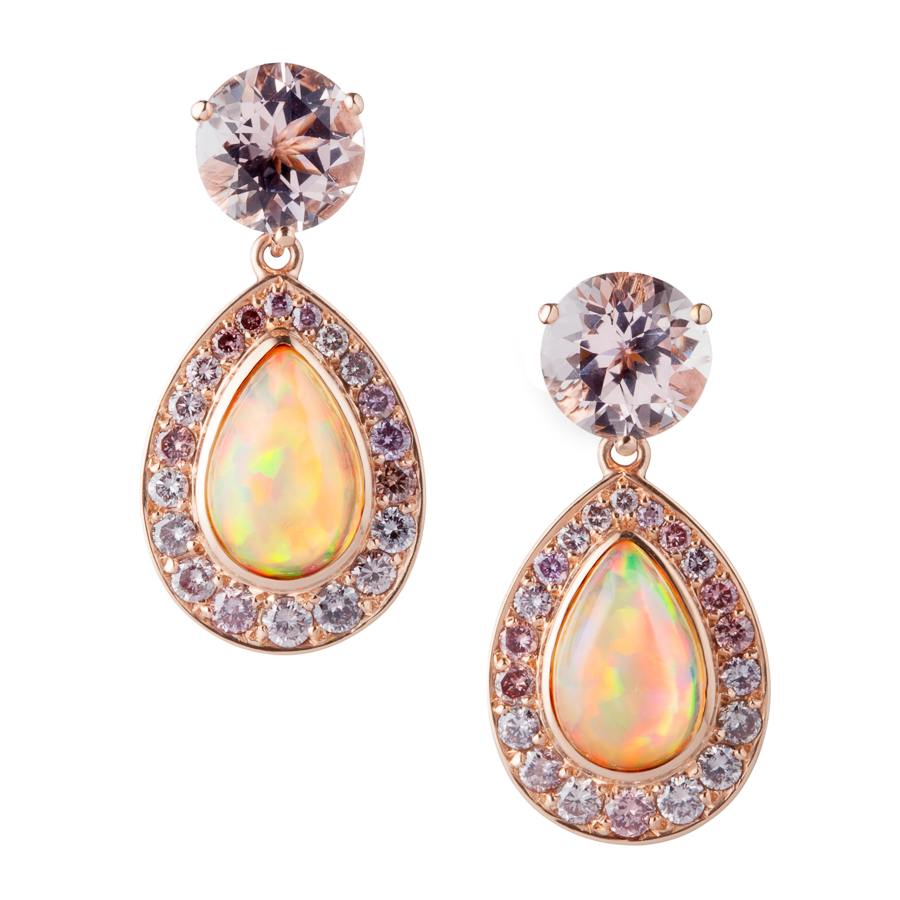Ethiopian Opal, Morganite and Pink Diamond Earrings in 18kt Rose Gold by Kathleen Dughi