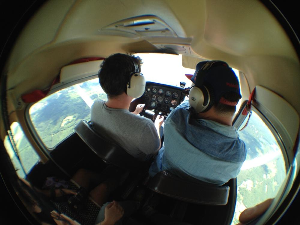 Piloting aninterview during flight training high above Berlin.
